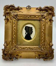 Antico RITRATTO IN MINIATURA Silhouette Donna intorno al 1820