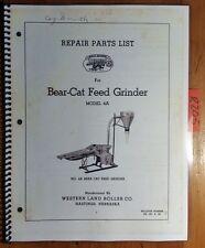 Western Land Roller Bear-Cat Bearcat Feed Grinder Model 4A Repair Parts Manual