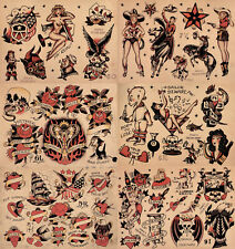 "Sailor Jerry Traditional Vintage Style Tattoo Flash 6 Sheets 11x14"" Old School 1"
