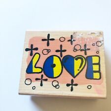 Love Wood Mounted Rubber Stamp Craft Scrapbooking Used Letters