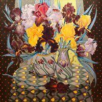 Stillleben Schwertlilien - Unikat Gemälde Original Acryl Leinwand - Julia Kurtu