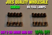(10) FUSE TYPE LAMPS 8v 300mA / 7070 9090 8080 DIAL METER RECEIVER Sansui BULBS