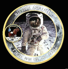 Apollo Astronaut Gold Coin Moon Landing Star Wars Trek NASA US Sci-Fi Foot Print