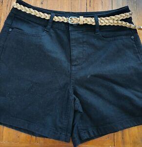 Ladies size 8 DANNII MINOGUE Petites BLACK denim Utility Shorts with belt NEW