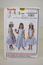 Burda Sewing Pattern 9696 - Girls Summer/Flower Girl Dress & Hat - Sz 2-7