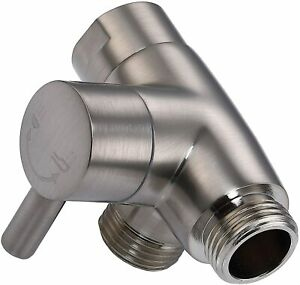 Solid Metal 3-Way Shower Arm Diverter T Adapter Replacement - Brushed Nickel