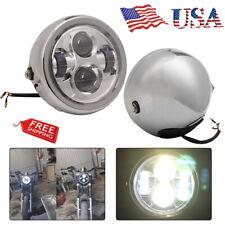 Chrome 6.5 Inch Round LED Headlight Projector For Harley Honda Yamaha Motorcycle