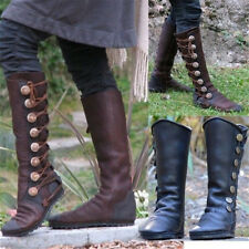 Womens Metal Button Hightop Boots Leather Flat Side Zipper Riding Shoes Fashion