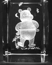 3D WINNIE THE POOH & BUTTERFLIES  3 Inch GLASS PAPERWEIGHT Laser Etched Crystal
