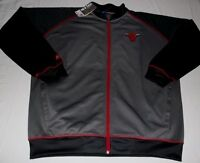 Chicago Bulls Full Zip Track Jacket 2XL Gray Front & Back Logos Majestic NBA