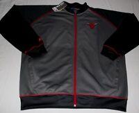 Chicago Bulls Full Zip Track Jacket 2XL Gray Front & Back Logos Majestic NBA