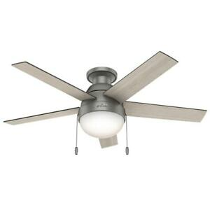 """Hunter Anslee 46"""" Low Profile Ceiling Fan with LED Light and Pull Chain, Silver"""