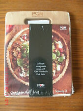 NEW wooden cutting board 8.5 x 11 in & Chef Series Pom Wonderful recipe book