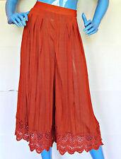 Free People Orange Culottes Pants M 8 10 12 Gaucho Lace Trim Palazzo Wide Legs