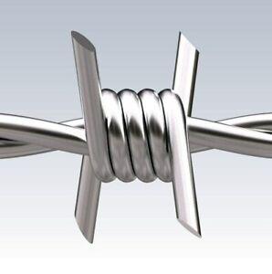 Riccio 250 metri di filo spinato spinoso zincato 1.7 mm a 4 punte per recinzioni