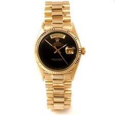 Rolex Mens 18K Yellow Gold Day-Date President Ref#1803 - Custom Black Onyx Dial