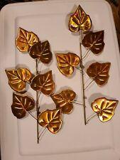 Vtg set 2 Homco Gold Ivy Leaf Metal Copper Brass Wall Décor Hanging 16� Bendable