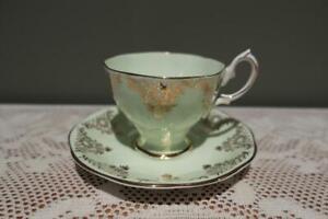 Royal Albert Bone China Demitasse Duo - Harlequin - Mint Green - Very Good Cond
