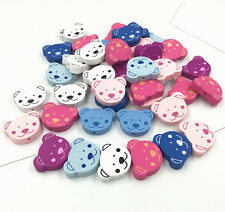 25pcs Bear Wooden Beads Baby Pacifier Clip Spacer Beading Bead Accessories 24mm