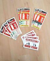 7 x Fire Extinguisher ID Photoluminescent Rigid Plastic Signs 250mm x 95mm