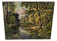 VINTAGE LANDSCAPE OIL PAINTING BY MIYATA MOUNTAIN TREES RIVER LUSH GREEN FOREST