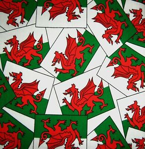 Wales Rugby Football Welsh flag Dragon 100% Cotton  fabric.