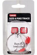 Leeda Pack Of 5***** Pike Trace Size 6 Semi-Barbed-Deadbait Rig Snap Tackle