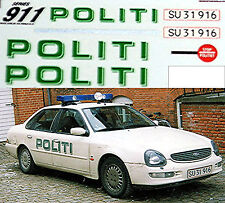 Ford Scorpio Politi Secured Car Denmark 1998 Polizei Cars 1:43 Decal Abziehbild