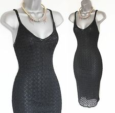 KAREN MILLEN BLACK VINTAGE CROCHET EMBELLISHED STRAPS BODYCON PARTY DRESS 2 10