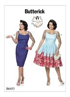 Retro sewing pattern, dress, Fifties 50s style B6453, Gertie, gathered or pencil