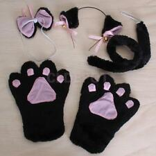 Black Cat Cosplay Set Paw Claw Gloves Ear Hairclip Tail Bow Tie Lolita Costume