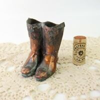 Vintage Miniature Cowboy Boots Metal Copper Tone Pens Toothpick Match Holder
