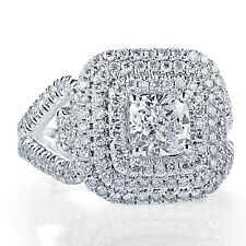 GIA Certified Halo Engagement Ring 2.27 Ct Cushion Cut Diamond 18k White Gold
