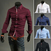 New Mens Dress Shirts Luxury Long Sleeve Casual Slim Fit Stylish Shirts Tops aqw