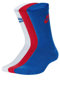 Nike Socks Youth Boys New Dri Fit Everyday Cushioned Crew 3 Pairs Red White Blue