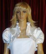 WHITE SATIN BOLERO SHORT SLEEVE BRIDAL JACKET MEDIUM !!
