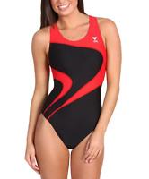 TYR Womens Black Red Alliance T Splice Maxback One Piece Swimsuit Sz 34 7412