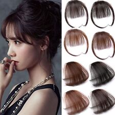 Thin Neat Air Bangs Human Hair Extension Clip In Natural Fringe Front Hairpiece