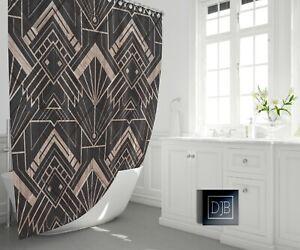 Modern Art Deco Shower Curtain | Geometric Pattern Bathroom Decor