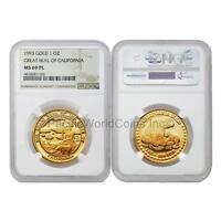 USA 1993 Great seal of California 1 oz Gold NGC MS69 PL