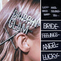 Noble Women Rhinestone Hair Clips Crystal Words Letters Bridal Hairpin Barrette