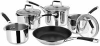 Stellar 5000 Induction 5 Piece Set Draining Lid Stainless Steel Cookware
