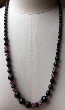 Vintage Black & Purple Glass Bead Necklace/Retro/French Jet 20's Deco Look