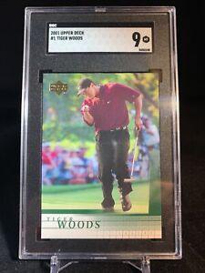 TIGER WOODS - 2001 UPPER DECK GOLF #1 - SGC 9 MINT HOT GRADED PGA ROOKIE RC CARD
