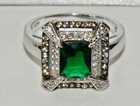 Sterling Silver Emerald & Zircon Antique Style Large Cocktail Ring size R