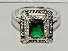 Sterling Silver Emerald & Zircon Art Deco Style Large Cocktail Ring size M