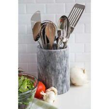 White Marble Utensil Holder Natural Elegant Stone Protective Bottom Kitchen Tool