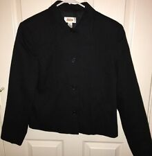 Talbot's Woman Black Blazer Jacket Size 10 Button Front Long Sleeve