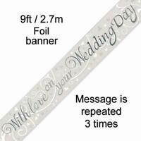 """9 FT FOIL BANNER """"With Love on your Wedding Day"""" WEDDING CELEBRATION"""