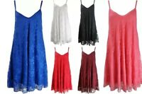 NEW WOMENS LADIES FLORAL LACE CAMI TOP STRAPPY SKATER SWING DRESS PLUS SIZE 8-20